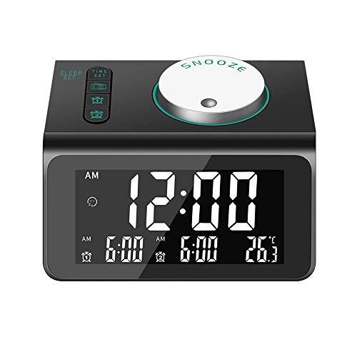 CHIMAERA Reloj Despertador Digital,FM Reloj Radio Despertador de Cabecera con Puerto de Carga USB Doble, Alarma Doble con 7 Sonidos de Alarma, 10 Mins Snooze, 5 Brillos, Puerto de Auriculares(Negro)
