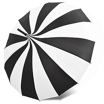 Kung Fu Smith Vintage Pagoda Umbrella Parasol for Women and Girls Sun UV Protection Rain Umbrella - Black and White