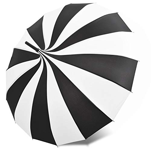 Kung Fu Smith Vintage Pagoda Umbrella Parasol for Women and Girls, Sun UV Protection Rain Umbrella - Black and White