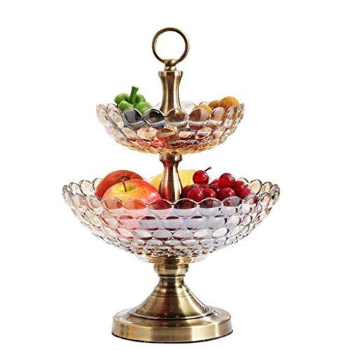 XZJJZ Plato de Fruta - Fruta de Vidrio, se Encuentra, Bandeja de Frutas Sala de Estar de Doble Capa Seca Salon, Dim Sum Fruta del Plato del Caramelo