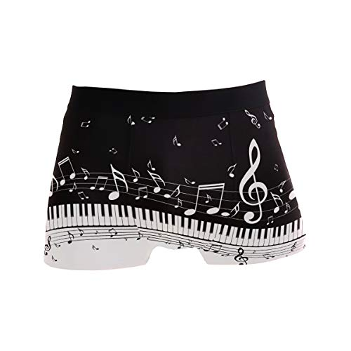ZZKKO Music Note Mens Boxer Briefs Underwear Breathable Stretch Boxer Trunk with Pouch L Black
