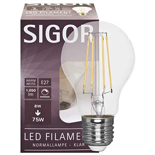 SIGOR Filament-LED-Lampe, AGL-Form, klar, E27/230V (9019600122)
