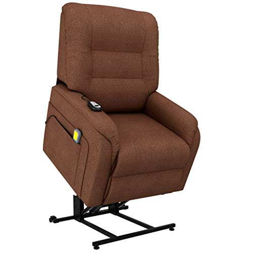Massagefauteuil elektrisch sta-op-stoel stof bruin