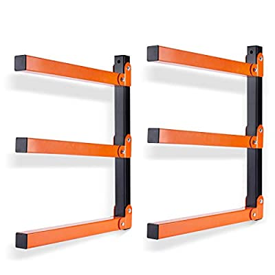 Ultrawall Wall Mount Wood Organizer and Lumber Storage Metal Rack with 3-Level - Indoor & Outdoor Use, 2 Pack