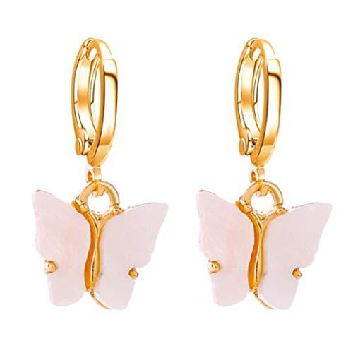 #N/A Schmetterling Anhänger Acryl Ohrringe Bunte stilvolle Elegante Ohrring Ohrstecker Frauen und Mädchen Schmuck Geburtstagsgeschenk,Weiß