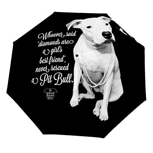 Meisjes Beste Vriend Redde Pit Bull Auto Opvouwbare Wind Bestand Winddicht Regen Reizen Paraplu