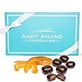 Andy Anands Vegan Dark Chocolate Covered Orange Peel 1 lb, Amazing Taste, Delicious, Delectable, Gift Boxed & Greeting Card Birthday Valentine Day Christmas Gourmet Holiday Gifts Mothers Day Get Well