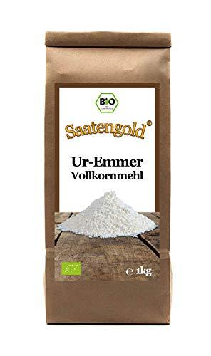 SAATENGOLD Ur-Getreide Bio-Mehle Mehl Vollkorn, Dinkel, Kamut (Emmer, 1 kg)