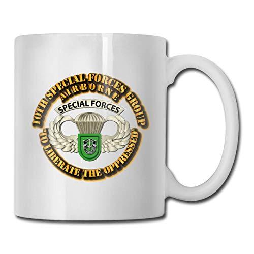NA 10th SFG - Airborne Badge Taza de café Personalizada Taza de té Regalos Blancos T Regalos del día de la Madre, Regalos del día del Padre, Regalos del Abuelo