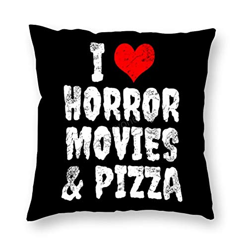 YY-one I Love Horror Movies & Pizza, Decorative Christmas Throw Pillow Cover for Sofa Couch Living Room Cushion Pillow Case 16x16 Inch