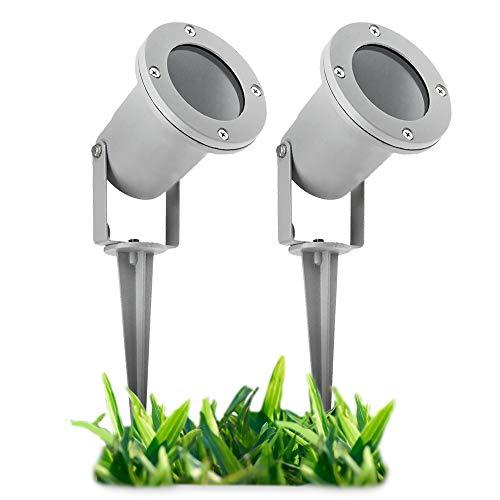 2 Stück LED Gartenstrahler mit Erdspieß für außen - mit 3W GU10 LED warmweiß - Gartenleuchte Kopf schwenkbar in silber grau