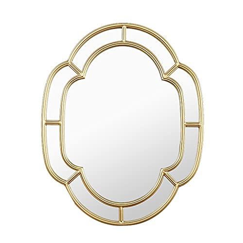 LWF Espejo De Pared Vendimia 48 × 60 Cm Marco Metal Decoración Pared Espejo De Baño Alta Definición Espejos De Maquillaje para Sala De Estar Pasillo Dormitorio, Oro