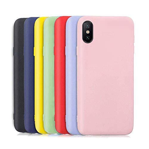 Meeter 7 x Funda para Xiaomi Redmi 7A, Ultra Fina Carcasa Silicona TPU de Alta Resistencia y Flexibilidad (Negro + Rojo + Azul Oscuro + Rosa + Lavanda + Amarillo + Verde)
