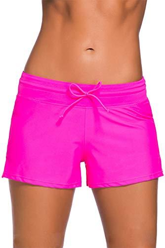 Kfnire Bañador Short Mujer, Deportivo Pantalones Cortos de Natación con cordón Ajustable Estilo con Panty Liner Plus Talla S - 3XL (M, Rosa roja)
