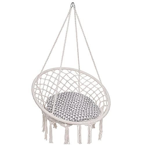 SPRINGOS Hamaca colgante con cojín, columpio con cuerda, en diseño de macramé, para interior y exterior (crema)