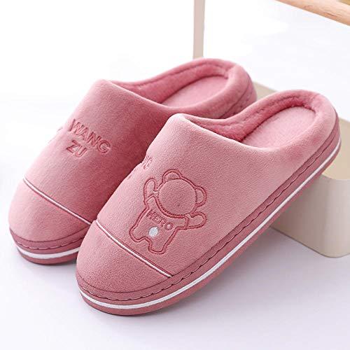 XZDNYDHGX Zapatillas de casa de Hombre,Zapatillas de Invierno para Hombres y Mujeres, Zapatos acogedores para el hogar en Interiores, cálidos y Peludos, Rosa UE 35-36
