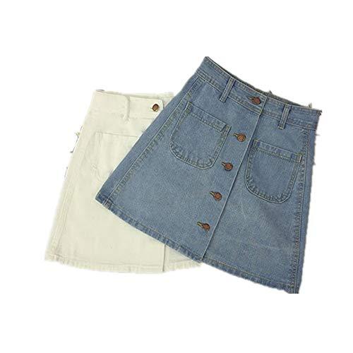 Sommer Womens Damen A-Linie Pencil Denim min Rock High Waist Jeans Harajuku Taschen Rock schwarz weiß hohe Qualität