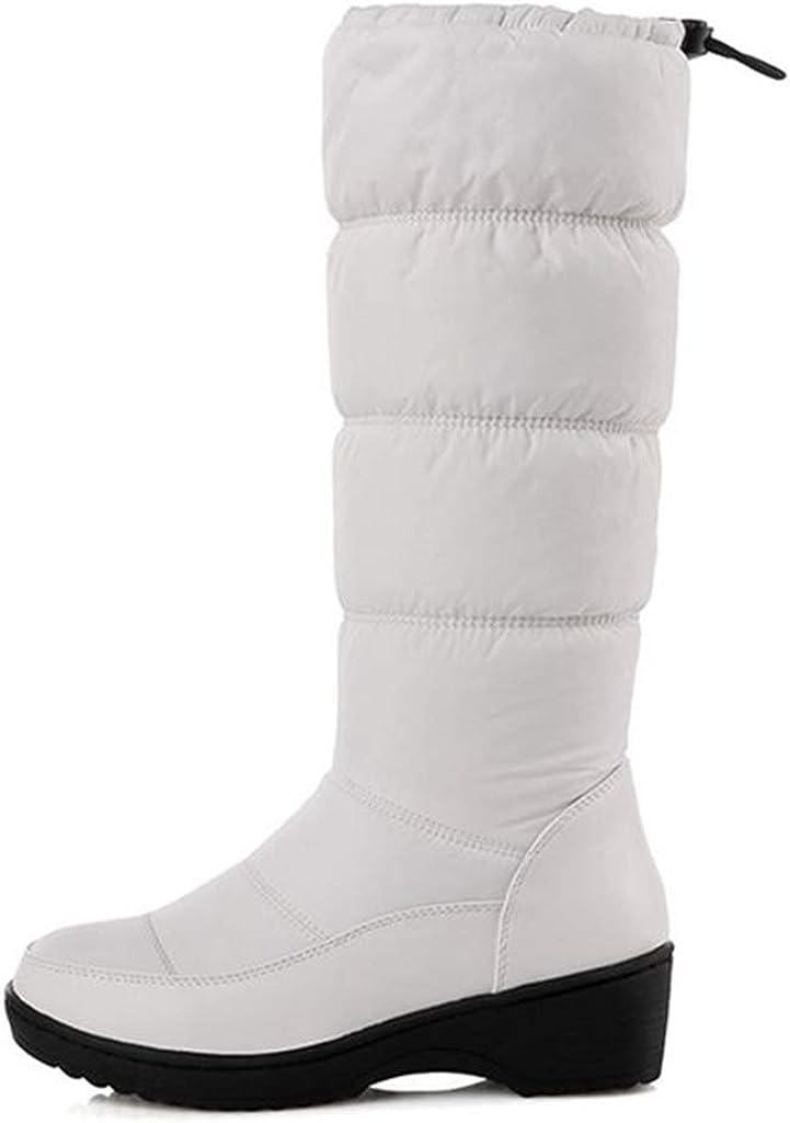 GIY Women's Winter Mid Calf Tall Waterproof Rian Snow Boots Fur Lined Fashion Elastic Platform Snow Boot
