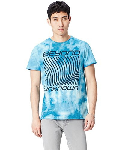 Marca Amazon - find. Camiseta para Hombre Beyond Unknown, Azul (Blue), M, Label: M