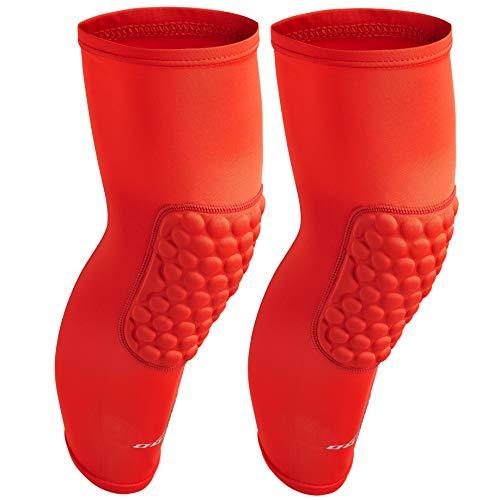 COOLOMG 1 Pair Adult EVA Pads Crashproof Basketball Leg Knee Long Sleeve Protector Gear Red XL