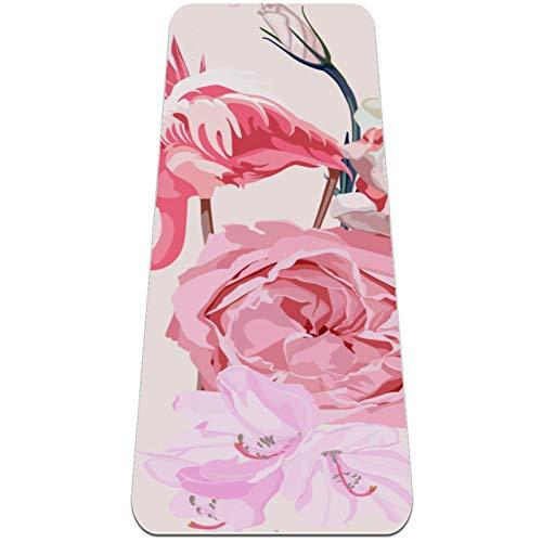 ASDFSD Esterilla de yoga de alta calidad antideslizante TPE para ejercicio, esterilla de entrenamiento para gimnasio, yoga, pilates y hogar, 183 x 61 x 0,6 cm, flores rosas