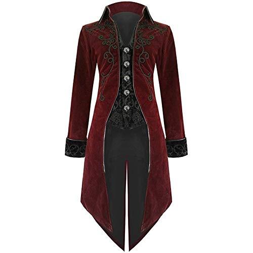 MRULIC Halloween Mäntel Herren Kapuze Jacke Gothic Gehrock Uniform Kostüm Party Oberbekleidung (EU-48/CN-XL, X1-Weinrot)