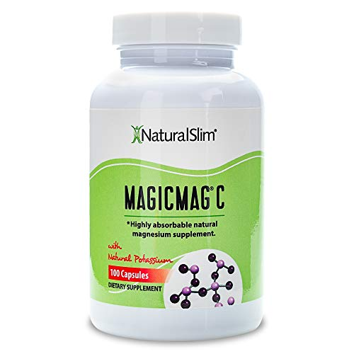NaturalSlim Anti Stress Magnesium Capsules - Pure Magnesium Citrate Plus Potassium - Natural Aid to a Slow Metabolism, Muscle Relaxation & Sleeping Difficulties - 500 mg - 100 Count (1 Pack)