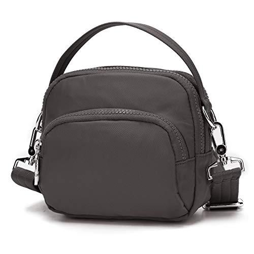 Wind Took Damen Umhängetasche Klein Mini Bag Sling Tasche Handtasche Handy Schultertasche für Reisen Sports Shopping, 16.5x14.5x8.5 Grau