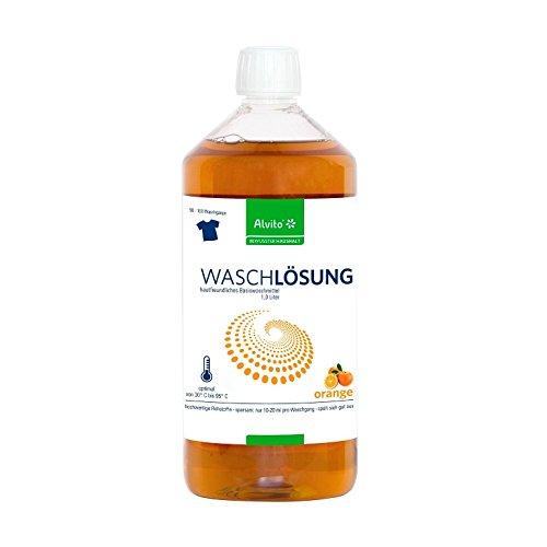Sanquell GmbH ALVITO Waschlösung Orange 1000 ml | bis zu 100 Waschgänge | nachhaltig | überzeugende Waschergebnisse | für alle Fasern und Gewebe geeignet | besonders verträglich für Mensch und Natur