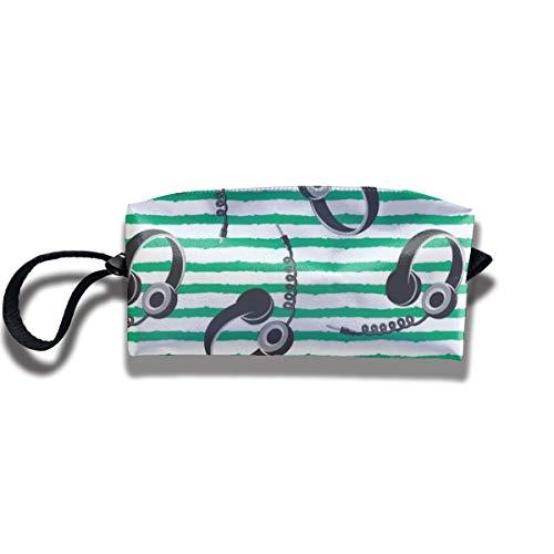 Pouch Handbag Cosmetics Bag Case Purse Travel & Home Portable Make-up Receive Bag Headphones On Dark Green Stripes