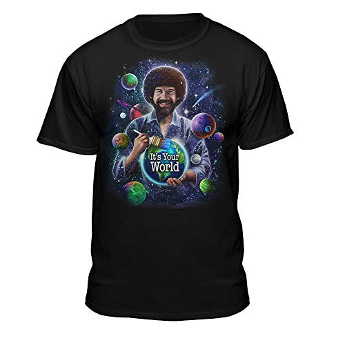 """Teelocity Bob Ross – Officially Licensed """"Universe"""" T-Shirt – I'm Your World Painting Teeshirt for Men, Woman, and Children (Medium, Paint Planet)"""