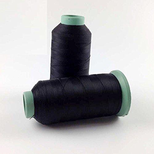 Fil à coudre en polyester noir haute ténacité 2000 m pour tissus d'ameublement, marché extérieur, draperie, perles, bagages, sacs à main