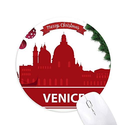 Venedig Italien Red Landmark Muster Rund Gummi Maus Pad Weihnachtsbaum Mat
