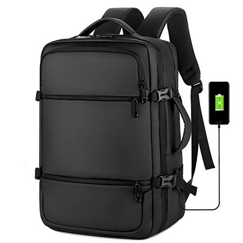 Mochila para portátil de viaje multifunción con 3VÍAS de carga USB regalo del e College School Puerto 15,6 pulgadas de la empresa informática mochilas de amortiguación de las mujeres ocasionales,Black