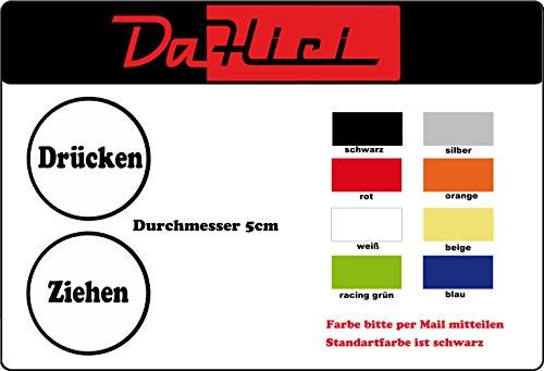 DaHici deurstickers, deurindicatieplaatje drukken/trekken in set, rond, diameter 5 cm, kleur zwart, wit, rood, groen, beige, blauw of zilver