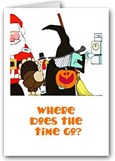 Where Does the Time Go Cute Halloween Card - 18 Cards & Envelopes