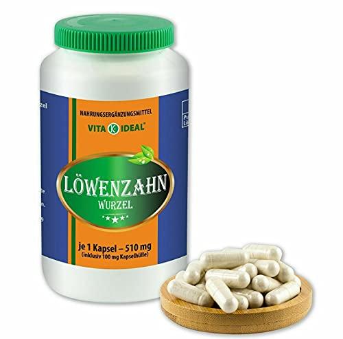 VITAIDEAL ® Löwenzahn-Wurzel (Traxacum officialae) 180 Kapseln je 510mg, aus rein natürlichen Kräutern, ohne Zusatzstoffe von NEZ-Diskounter