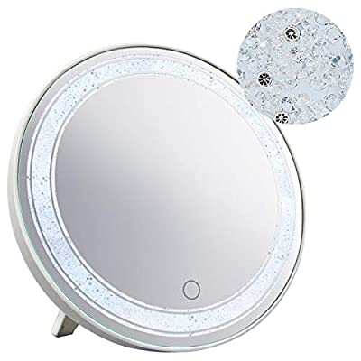 Amazon - Save 30%: HORLIMER 12 Inches Round Makeup Mirror with Lights and Glitter Decor, Touch…