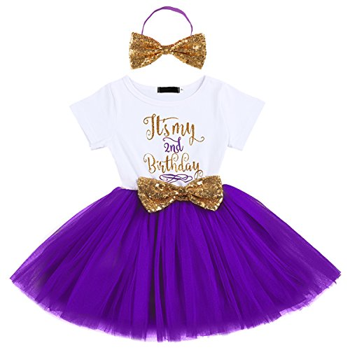 Kids Girl Princess It's My 1st/2nd Birthday Party Cake Smash Boutique Outfit Sequin Bow Tie Tulle Tutu Dress Clothes Gold Headband+Purple(2 Years)
