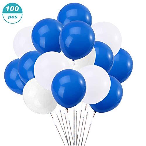 Flow.month 100 Stücke Blaue Weiß Luftballon Set für Hochzeit/Geburtstag Party Dekoration 50 Blaue Ballons,50 Weiß Ballons