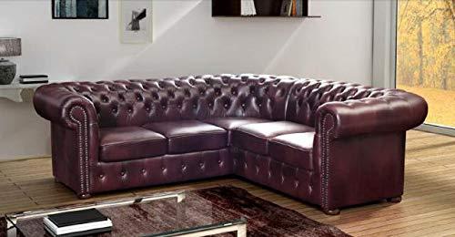 JVmoebel Chesterfield Ecksofa Ledercouch Eck Sofa Polster Sitz Couch Leder Garnitur Napol