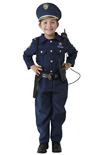 Dress Up America Costume della polizia per ragazzi: camicia, pantaloni, cappello, cintura, fischietto fondina per pistola e set da poliziotto walkie-talkie (4-6 anni (vita: 71-76 altezza: 99-114 cm)