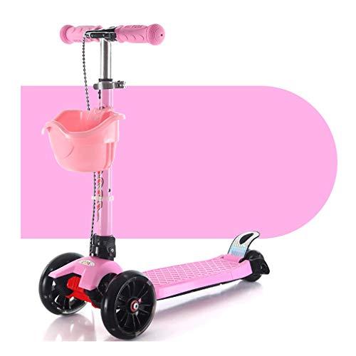 Scooters para Niños Vespa de plegamiento multifuncionales Freno de la rueda trasera de las ruedas traseras durante 2-12 años - Scooter plegable con altura extraíble ajustable Antideslizante Scooter Pa