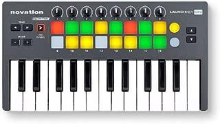 Novation NOVLKMIN Launchkey 25-Key Mini Compact Instrument and USB MIDI Controller Keyboard for iPad, Mac and PC ,Gray