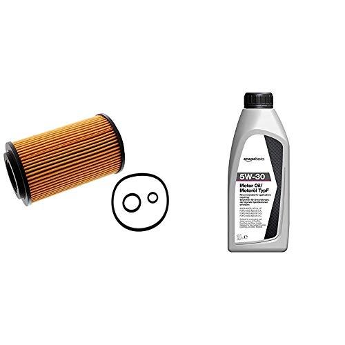 febi bilstein 24661 Ölfilter mit Dichtringen , 1 Stück & Amazon Basics – Motorenöl 5W-30 Typ F, 1 l