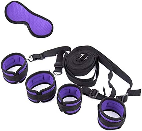 Bed Restraints Kit Under Bed Bondage Eye Mask Blindfolds Soft Wrist and Ankle Handcuffs with product image