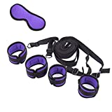 Bed Restraints Kit Under Bed Bondage Eye Mask Blindfolds Soft Wrist and Ankle Handcuffs with Restraint Straps Rope for Couples Sex-purple