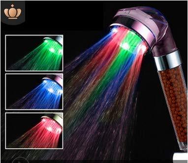 Zorara - Alcachofa de ducha LED, 3 colores, ducha con cambio de color, temperatura, masaje, ahorro de agua, desmontable, con filtro de bolas minerales, morado