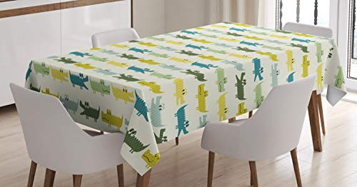 Ambesonne Animal Tablecloth, Crocodile Characters in Cartoon Style Funny Faces Animal Alligators Childish, Dining Room Kitchen Rectangular Table Cover, 60