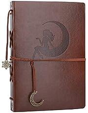 AIOR Fotoalbum klippbok, vintage läder klippbok, självhäftande påfyllningsbar svart sida minne gästbok
